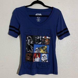 Star Wars Womens Top M Blue Black V Neck Striped